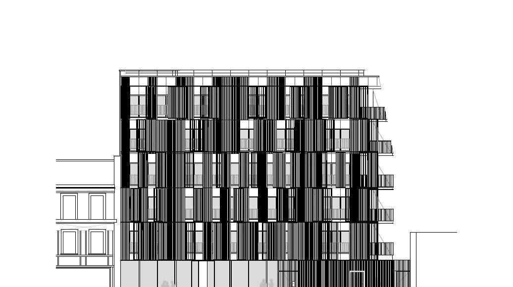 Fachada Noroeste 1:100 del Desarrollo de 10 Viviendas en Castagnary diseñado por DFA : Drawing © Dietmar Feichtinger Architectes