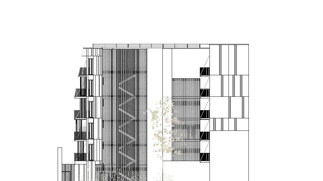 Fachada Sureste 1:100 del Desarrollo de 10 Viviendas en Castagnary diseñado por DFA : Drawing © Dietmar Feichtinger Architectes