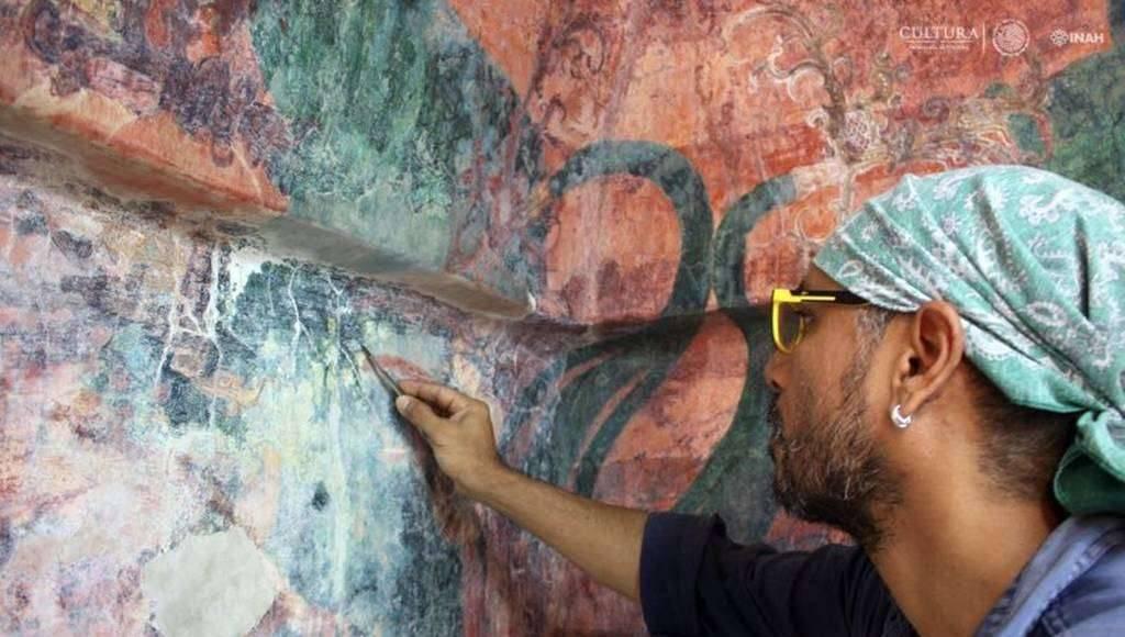 Recobran los murales del Cuarto 3 del Templo de las Pinturas de Bonampak : Foto Cortesía © Haydeé Orea INAH