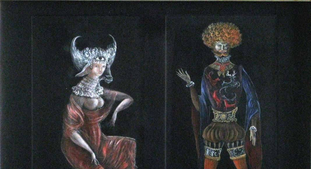 Leonora Carrington, Sin título, lápiz color sobre papel negro, 33.5 x 17 cm cada uno (díptico) : Fotografía © Leonora Carrington