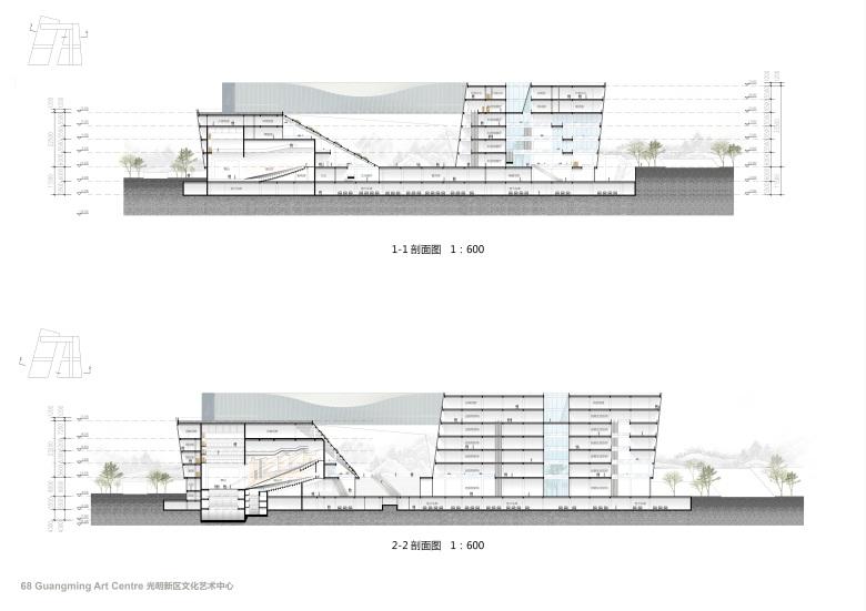 Centro Cultural y de las Artes de Guangming Elevation : Drawing © RMJM Shenzhen