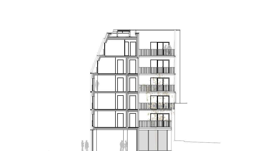Corte A - A' 1:100 del Desarrollo de 10 Viviendas en Castagnary diseñado por DFA : Drawing © Dietmar Feichtinger Architectes