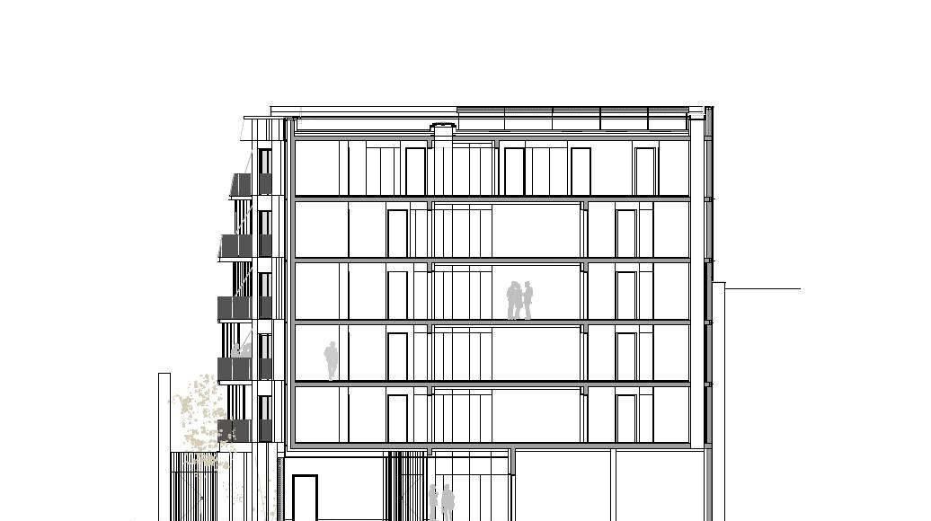 Corte B - B' 1:100 del Desarrollo de 10 Viviendas en Castagnary diseñado por DFA : Drawing © Dietmar Feichtinger Architectes