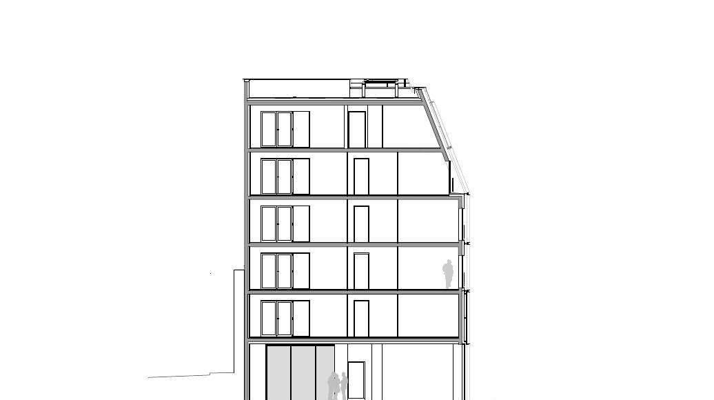 Corte C - C' 1:100 del Desarrollo de 10 Viviendas en Castagnary diseñado por DFA : Drawing © Dietmar Feichtinger Architectes