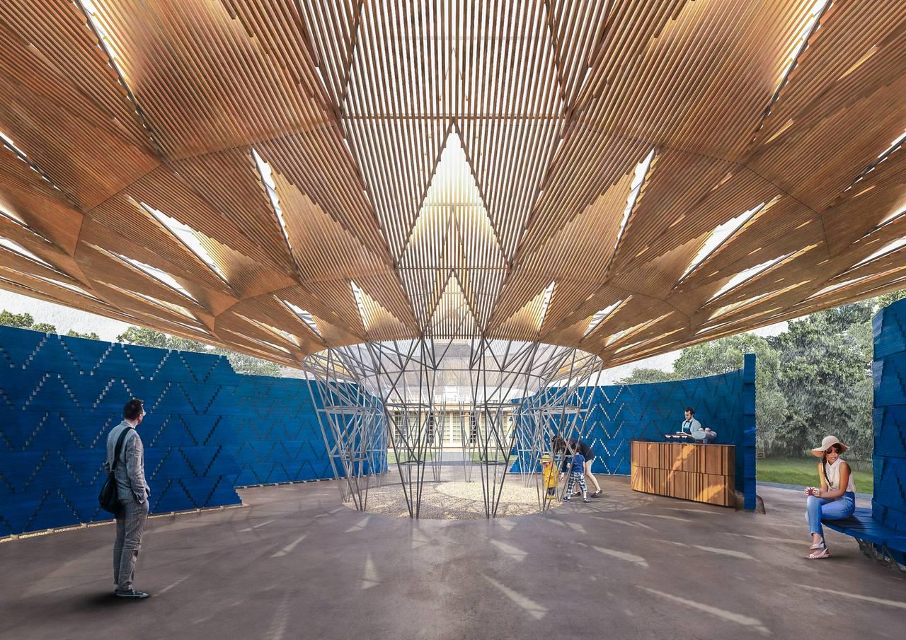 Serpentine Pavilion 2017, Designed by Francis Kéré, Design Render, Interior : Render © Kéré Architecture