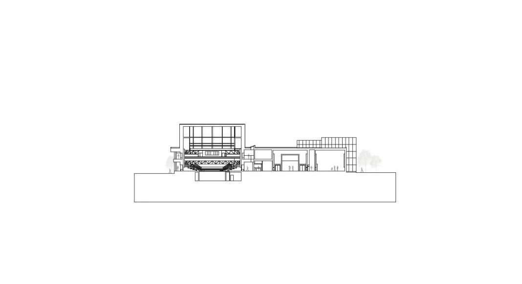 Corte 1:500 del Vendsyssel Theatre diseñado por Schmidt Hammer Lassen Architects : Drawing © Schmidt Hammer Lassen Architects