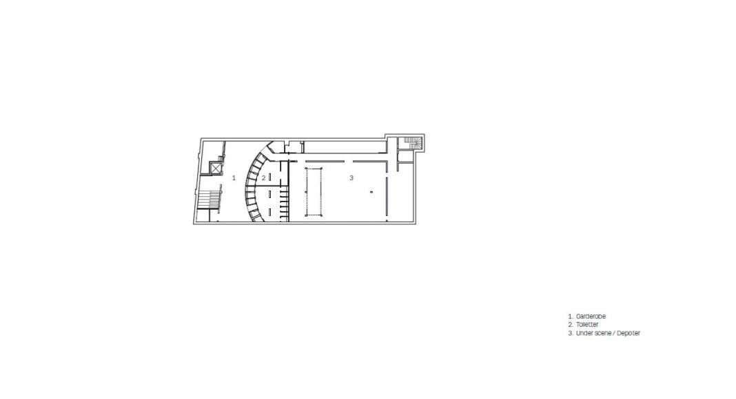Planta del Sótano del Vendsyssel Theatre diseñado por Schmidt Hammer Lassen Architects : Drawing © Schmidt Hammer Lassen Architects