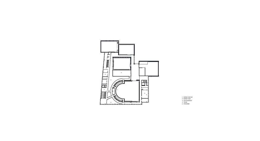 Planta Primer Nivel del Vendsyssel Theatre diseñado por Schmidt Hammer Lassen Architects : Drawing © Schmidt Hammer Lassen Architects