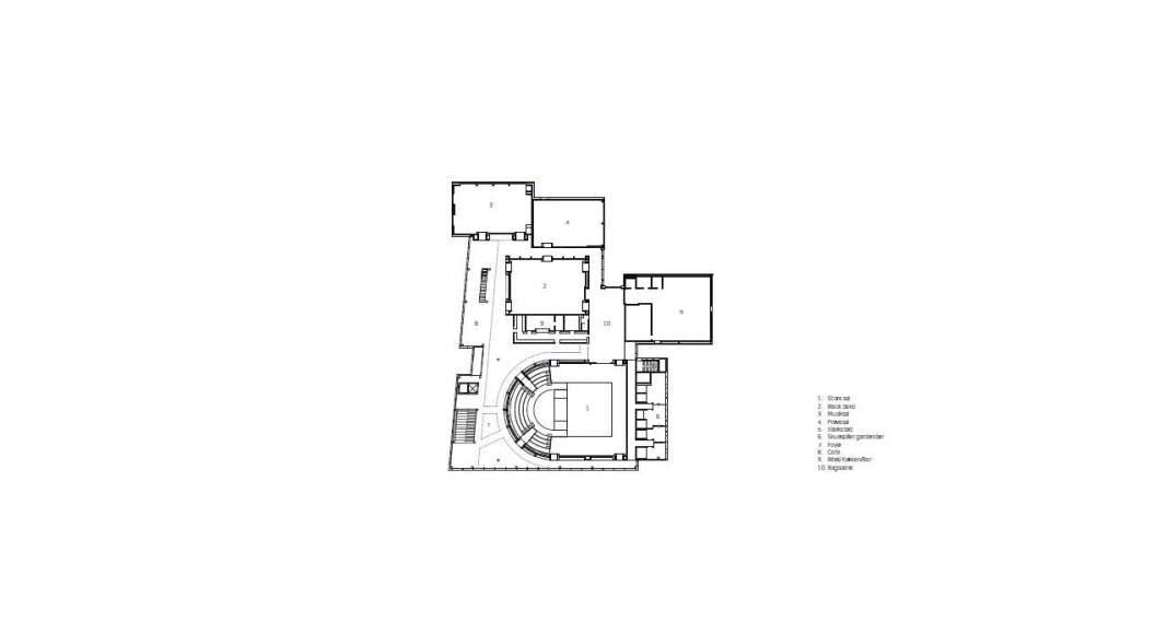 Planta Baja del Vendsyssel Theatre diseñado por Schmidt Hammer Lassen Architects : Drawing © Schmidt Hammer Lassen Architects