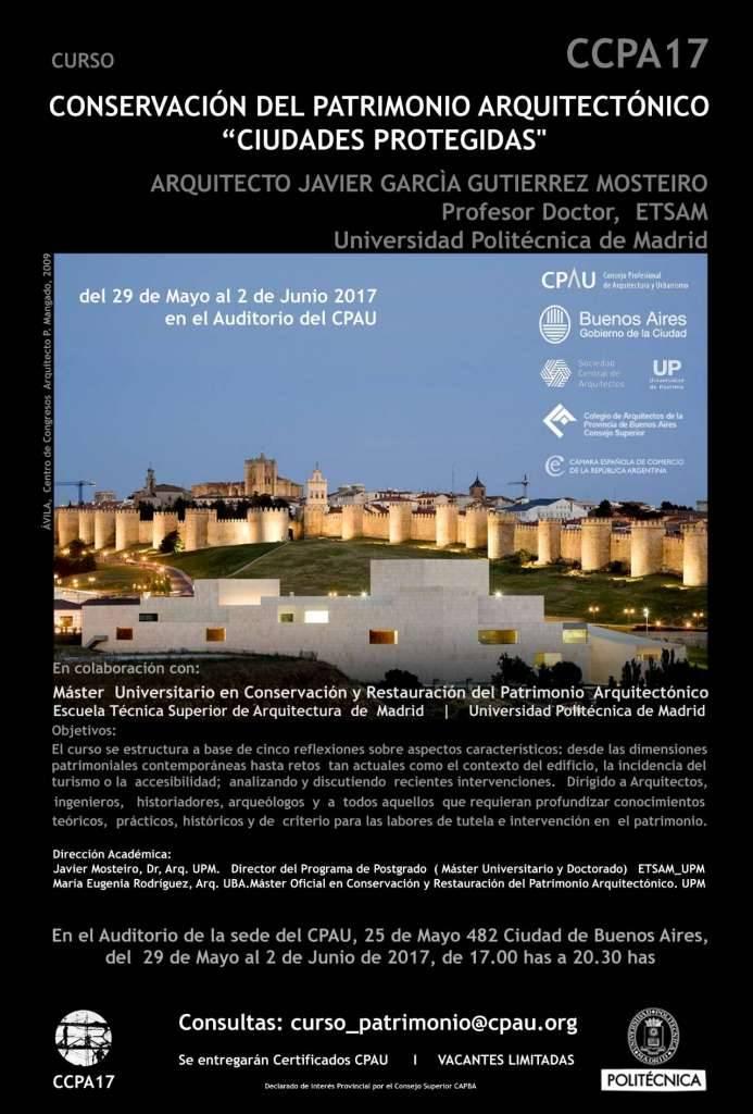 """Conservación del Patrimonio Arquitectónico, """"Ciudades Protegidas"""" : Poster © CPAU / CCPA17"""