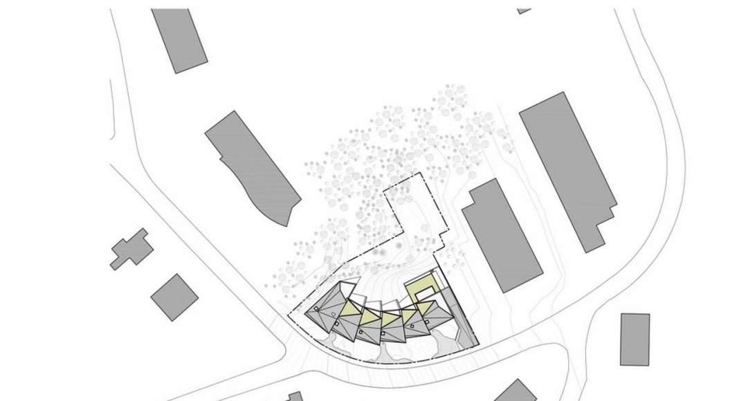 Site Plan residential building with 15 units Dommeldange, Luxembourg : Photo credit © Metaform Architects