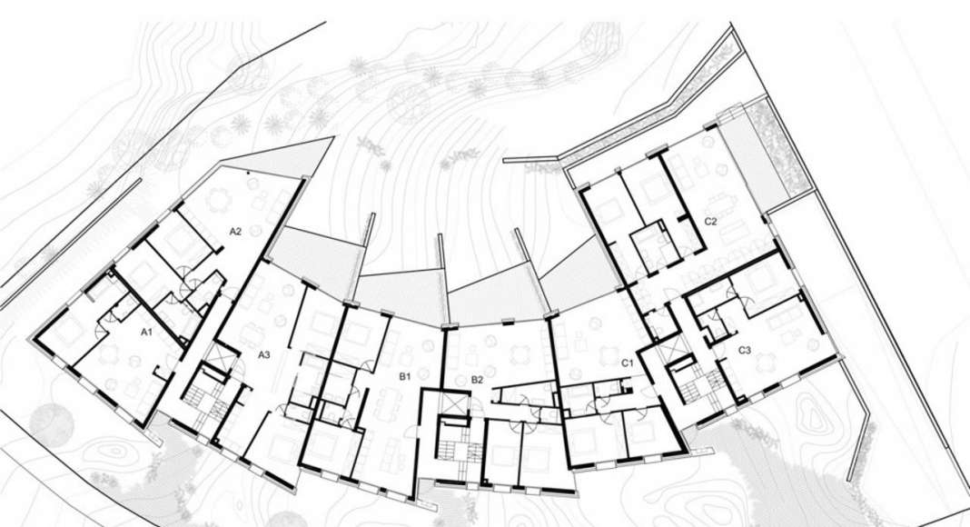 Ground Floor Plan residential building with 15 units Dommeldange, Luxembourg : Photo credit © Metaform Architects