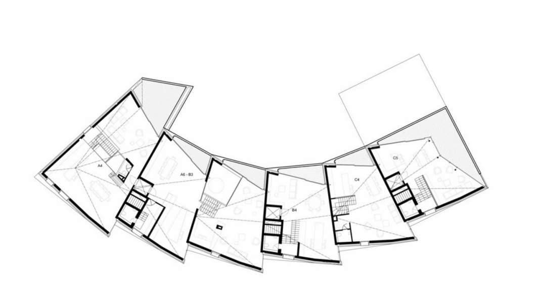 Second Floor Plan residential building with 15 units Dommeldange, Luxembourg : Photo credit © Metaform Architects