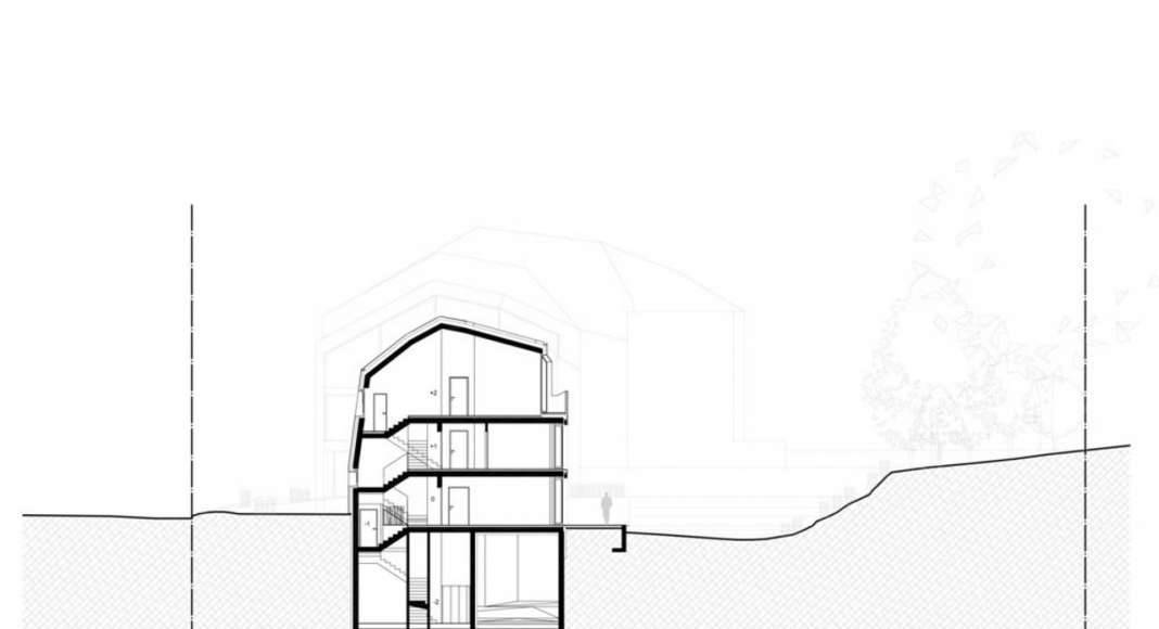 Section 2 - 2' residential building with 15 units Dommeldange, Luxembourg : Photo credit © Metaform Architects