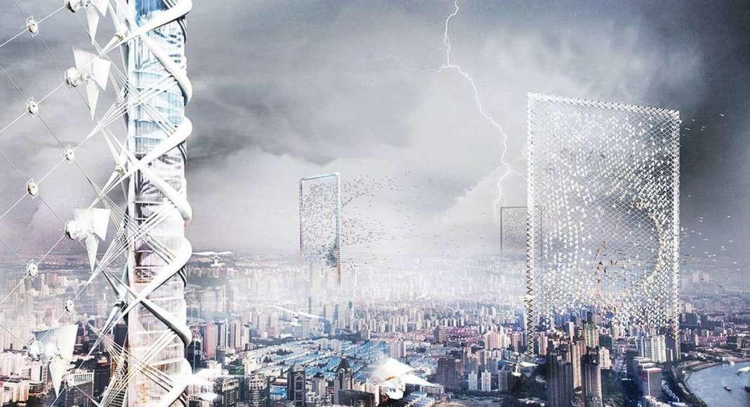 Wind Skyscraper - honorable mention eVolo Skyscraper Competition 2017 : Photo credit © Shenghui Yang, Xu Pan, Yue Song, Yingxin Cheng, Binci Wang, Yuerong Zhou, Yaying Zheng, Shiman Wang