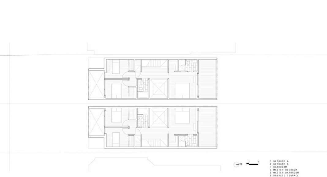 Doble Duplex Third Floor Plan : Drawing credit © Batay-Csorba Architects