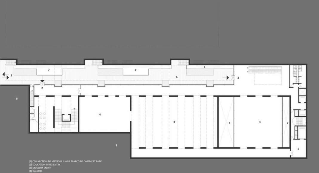 Lima Art Museum New Contemporary Art Wing Gallery Level Floor Plan : Photo credit © Efficiency Lab for Architecture PLLC
