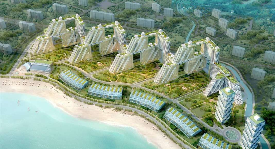 Golden Dream Bay, Aerial view : Photo credit image courtesy of © Safdie Architects