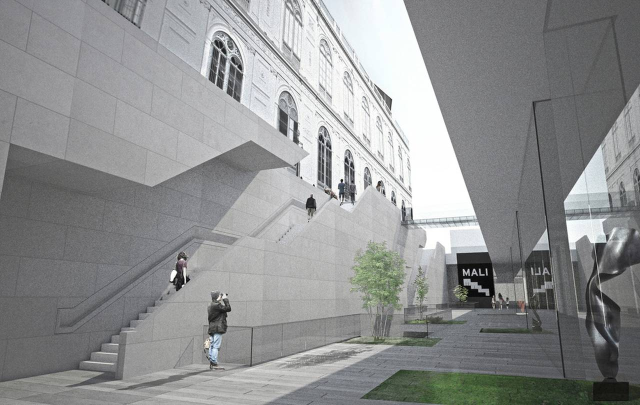 Lima Art Museum New Contemporary Art Wing View from the Sunken Plaza : Photo credit © Efficiency Lab for Architecture PLLC