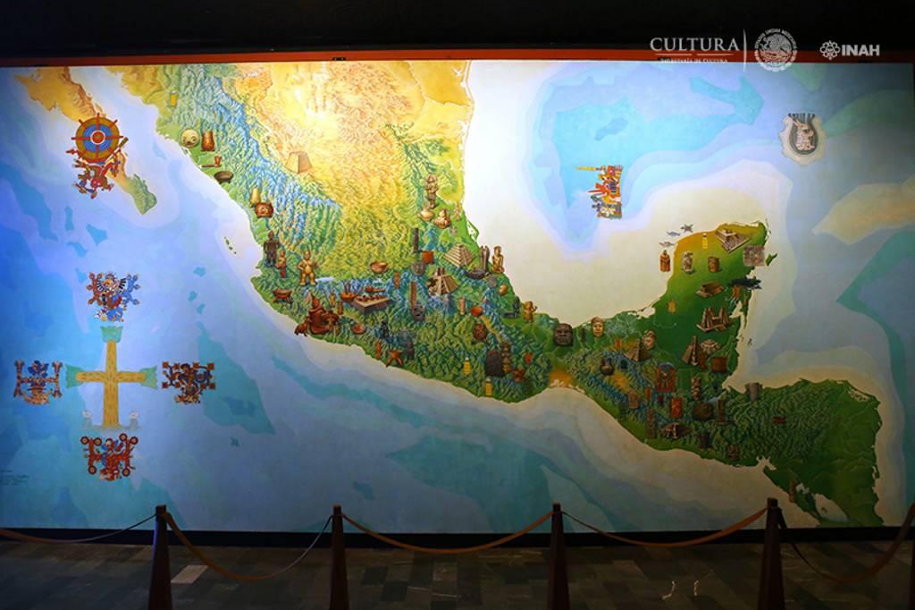 Mural Mapa de Mesoamérica de Vázquez y Covarrubias, sala Teotihuacan, Museo Nacional de Antropología : Foto © INAH