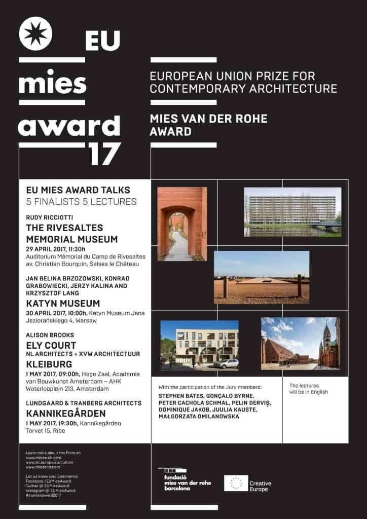 EU MIES AWARD TALKS: Serie de Conferencias Finalistas del Premio EU Mies Award 2017 : Poster © Premio EU Mies Award