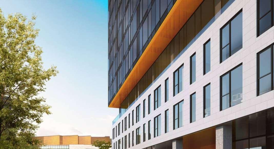 Acceso al Desarrollo Laurent & Clark en Montreal, Canadá : Photo © Menkès Shooner Dagenais LeTourneux Architectes
