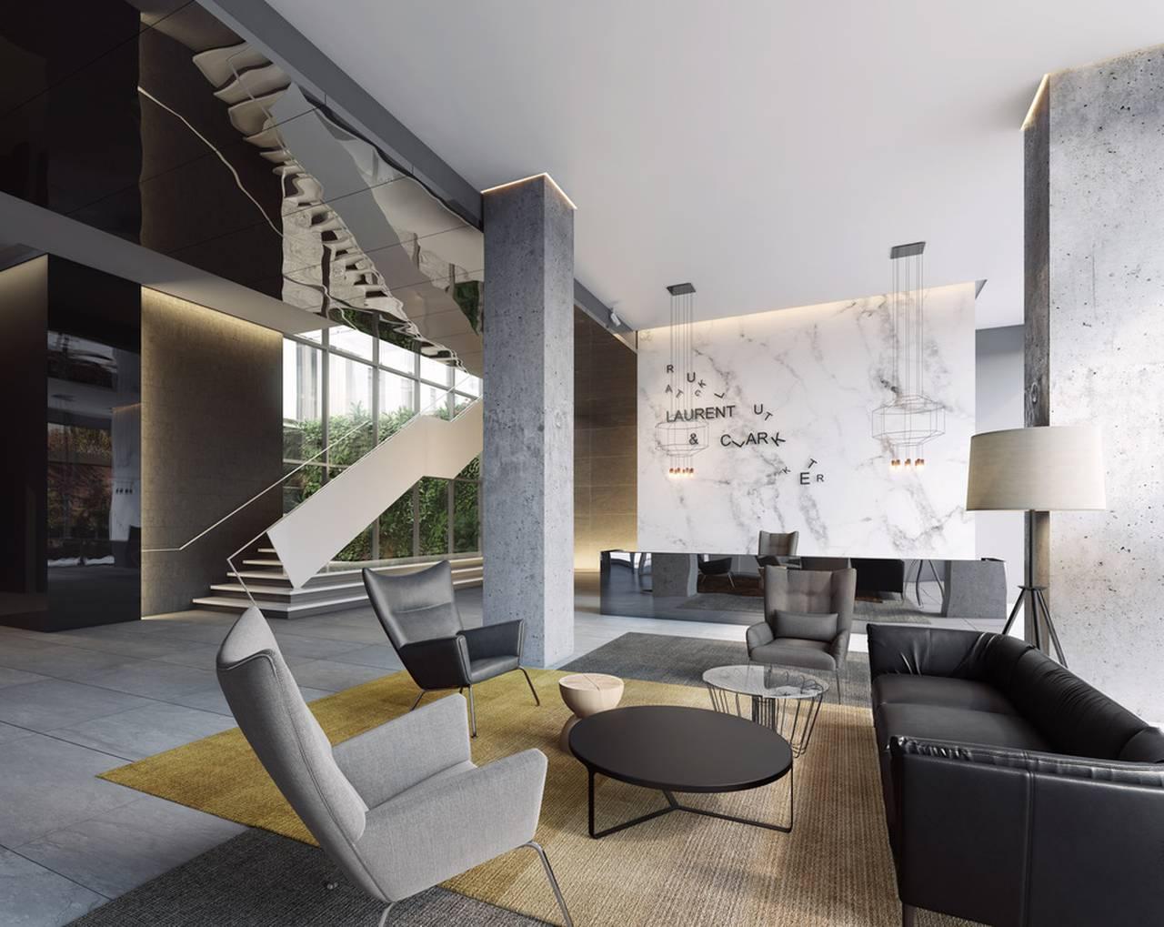 Vestíbulo del Desarrollo Laurent & Clark en Montreal, Canadá : Photo © Menkès Shooner Dagenais LeTourneux Architectes