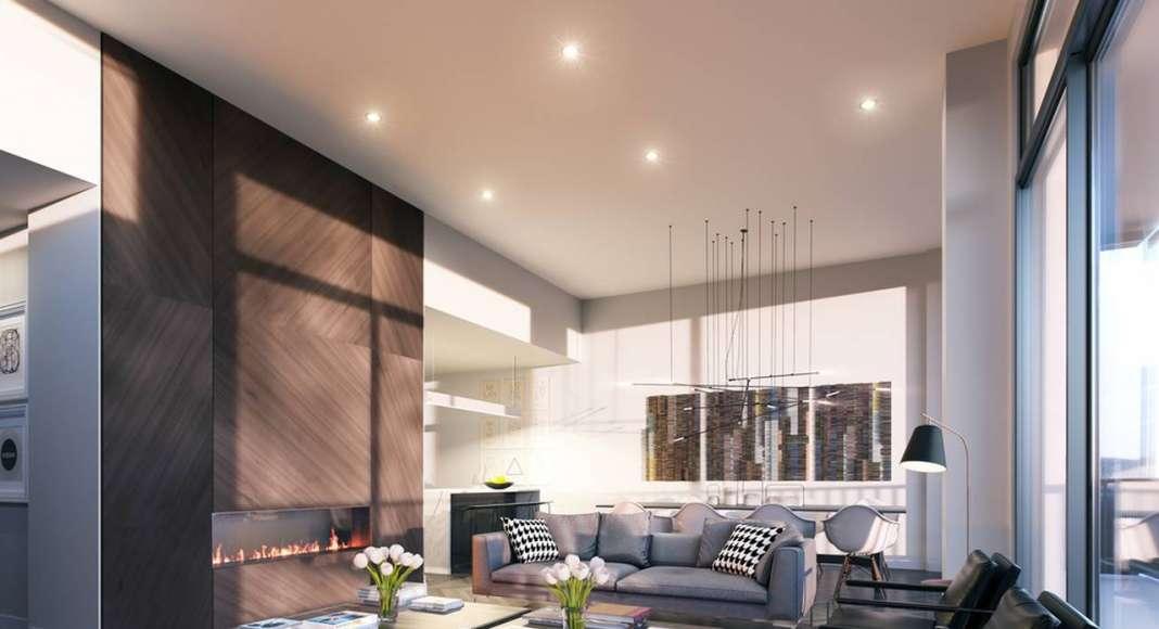 Interior del Penthouse del Desarrollo Laurent & Clark en Montreal, Canadá : Photo © Menkès Shooner Dagenais LeTourneux Architectes