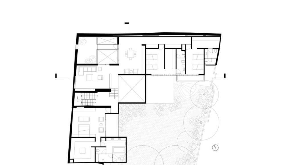 Planta Primer Nivel de la Casa F12 : Plano © Miguel de la Torre Arquitectos