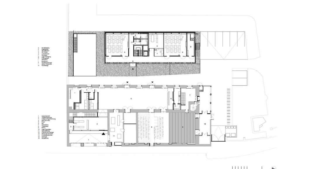 Planta Baja de la Renovación del Studio Molière y extensión del Liceo Francés de Viena : Photo © Dietmar Feichtinger Architectes