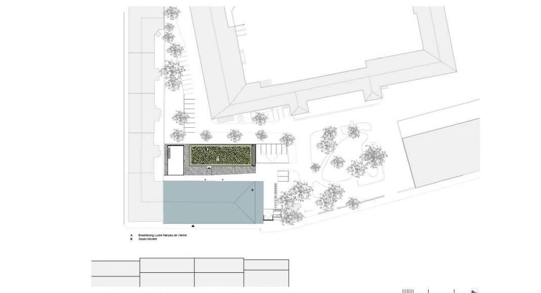 Planta de Conjunto de la Renovación del Studio Molière y extensión del Liceo Francés de Viena : Photo © Dietmar Feichtinger Architectes