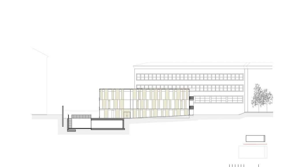 Fachada Este de la Renovación del Studio Molière y extensión del Liceo Francés de Viena : Photo © Dietmar Feichtinger Architectes
