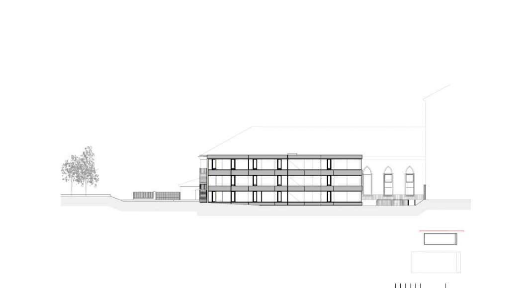 Fachada Oeste de la Renovación del Studio Molière y extensión del Liceo Francés de Viena : Photo © Dietmar Feichtinger Architectes