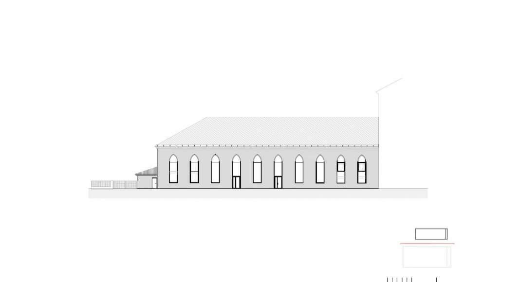 Fachada Oeste del Studio Molière y extensión del Liceo Francés de Viena : Photo © Dietmar Feichtinger Architectes