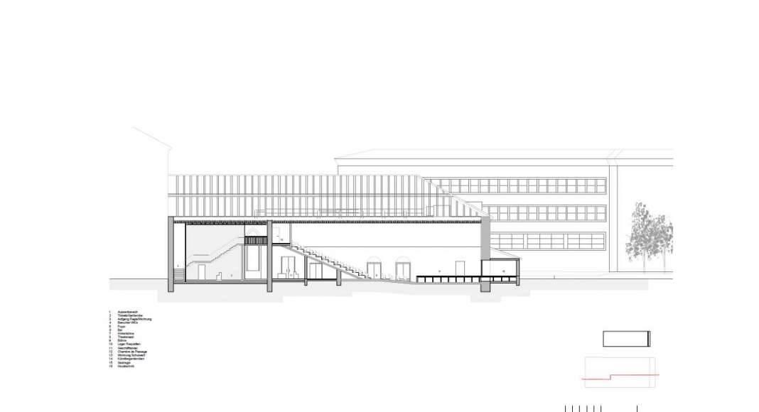Corte A - A' de la Renovación del Studio Molière y extensión del Liceo Francés de Viena : Photo © Dietmar Feichtinger Architectes