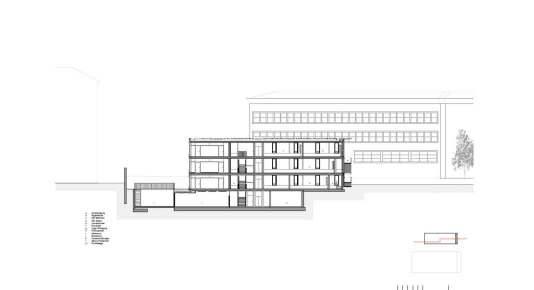 Corte C - C' de la Renovación del Studio Molière y extensión del Liceo Francés de Viena : Photo © Dietmar Feichtinger Architectes