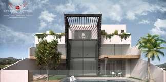 Arquitectura Residencial en Real de Juriquilla Fachada Posterior : Render © MANUEL TORRES DESIGN