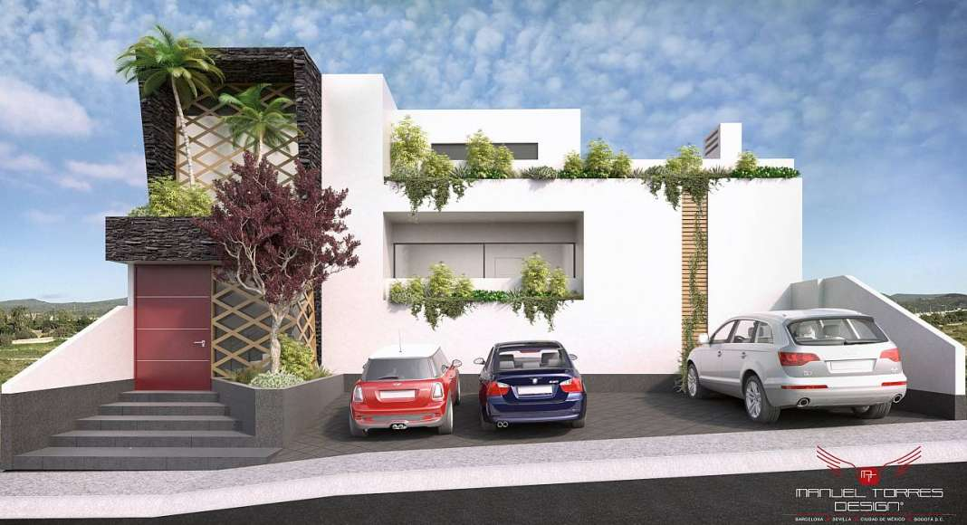 Arquitectura Residencial en Real de Juriquilla Fachada Principal : Render © MANUEL TORRES DESIGN