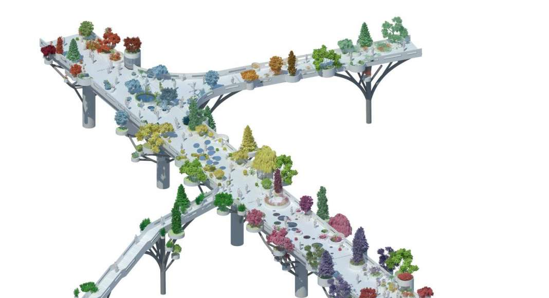 In the future, the overpass will evolve with new plants and new activators so as to become an 'urban nursery', rearing trees for the surrounding districts : Image © MVRDV