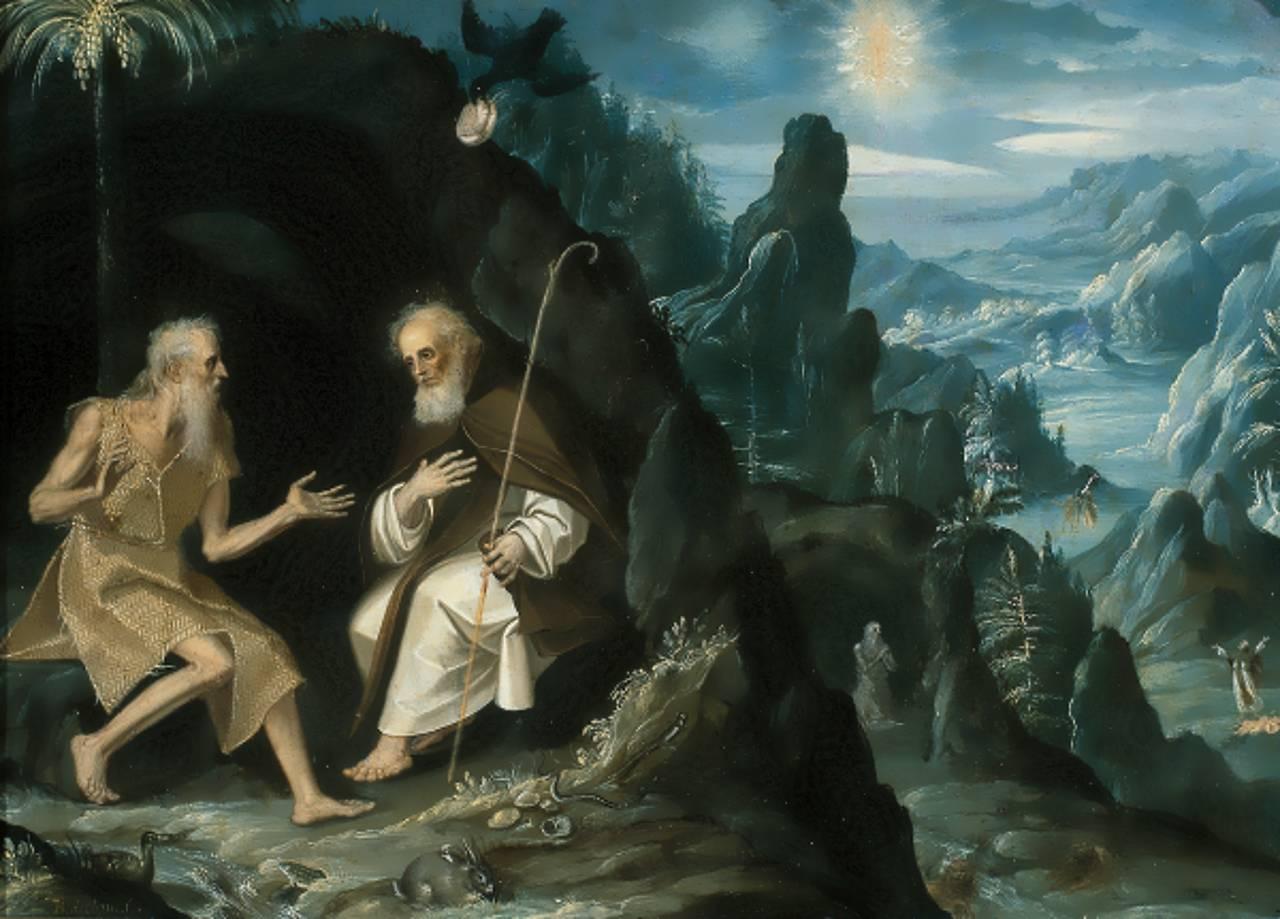 San Pablo y San Antonio ermitaños (Siglo XVII), Baltasar de Echave Ibía, Óleo sobre lámina de cobre 37.5 x 51.5 cm : © Museo Nacional de Arte, INBA. Acervo constituivo, 1982