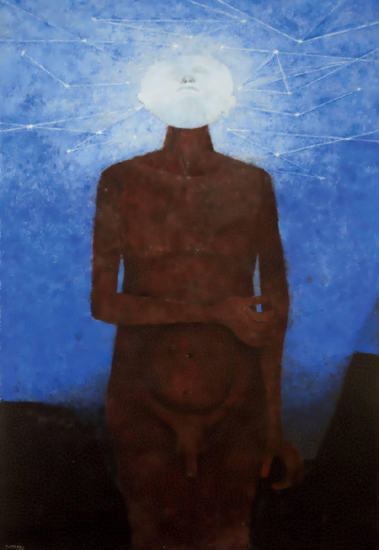 El Iluminado (1982), Rufino Tamayo, Óleo sobre tela 215 x 142 cm, Colección particular: © D.R. Rufino Tamayo / Herederos / México / 2017 / Fundación Olga y Rufino Tamayo, A.C.