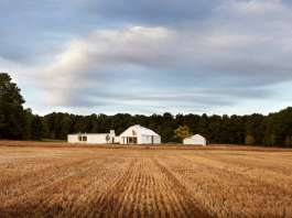 The house sits at the nexus of the land's constituent characteristics: forests to the west, a hill to the south, and 100 acres of fields to the north and east : Photo credit © Ben Rahn / A-Frame Studio