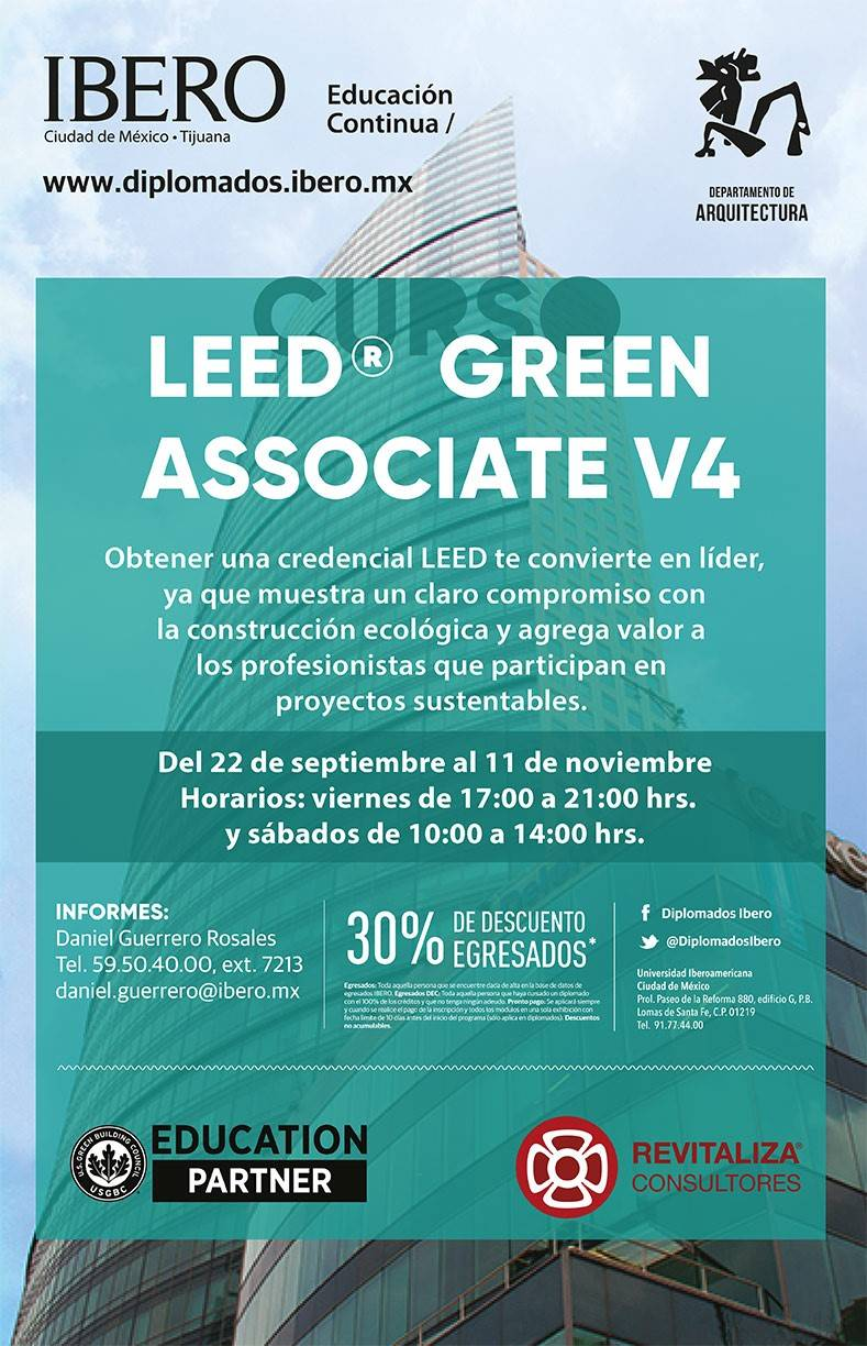 Curso LEED® Green Associate v4 – Otoño 2017 : Cartel © ArqIBERO