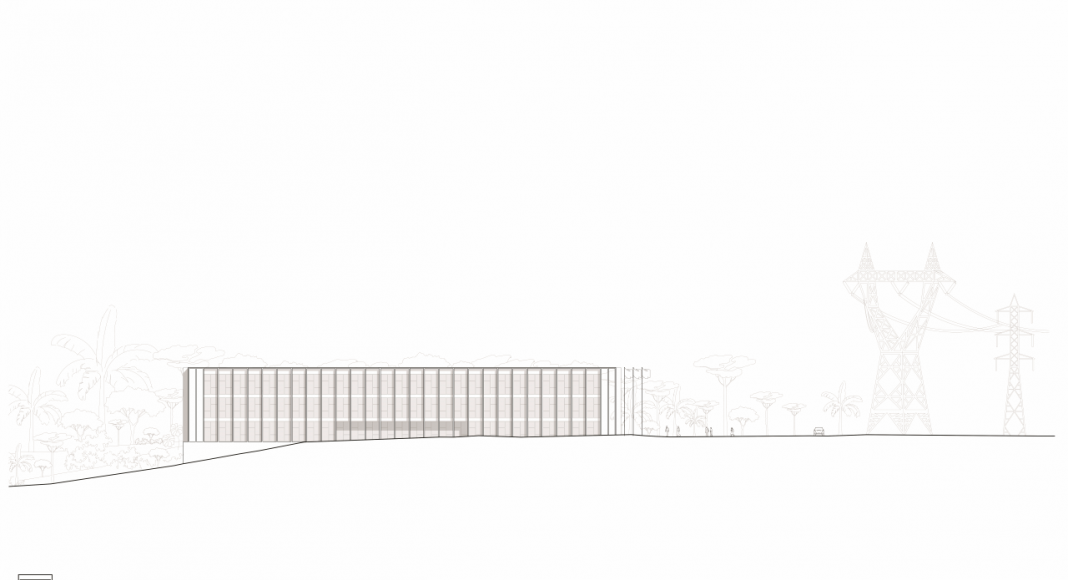 Fachada Sur de la Facultad de Medicina de São José dos Campos : Drawing © Kaan Architecten