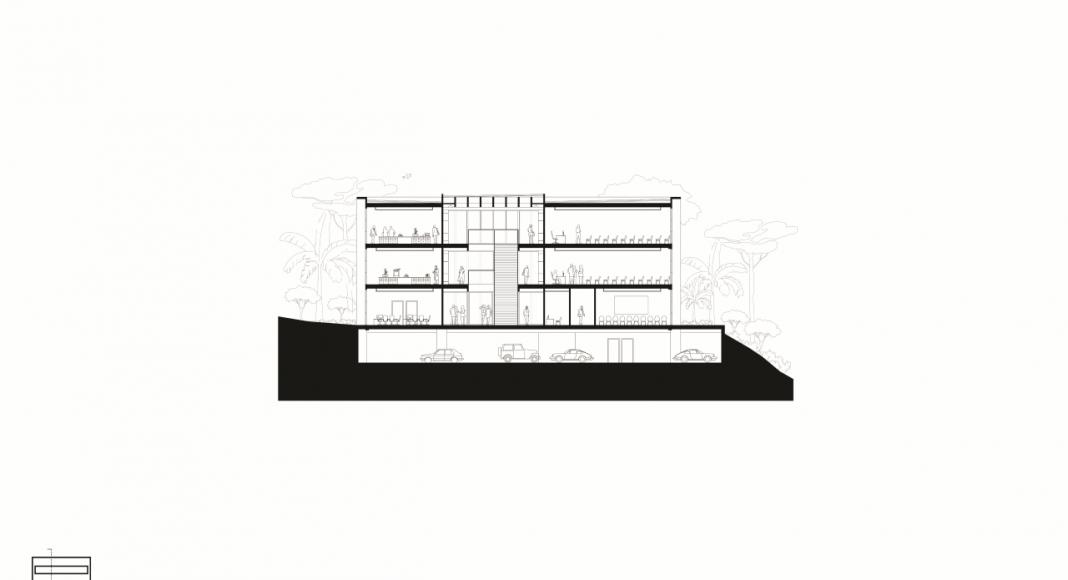 Corte Transversal de la Facultad de Medicina de São José dos Campos : Drawing © Kaan Architecten