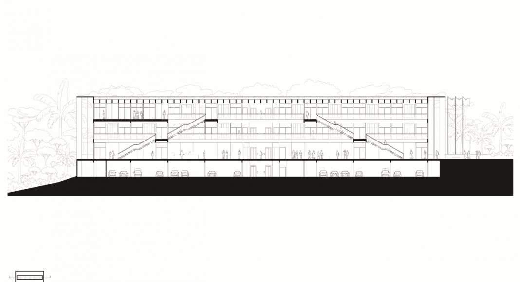 Corte Longitudinal de la Facultad de Medicina de São José dos Campos : Drawing © Kaan Architecten