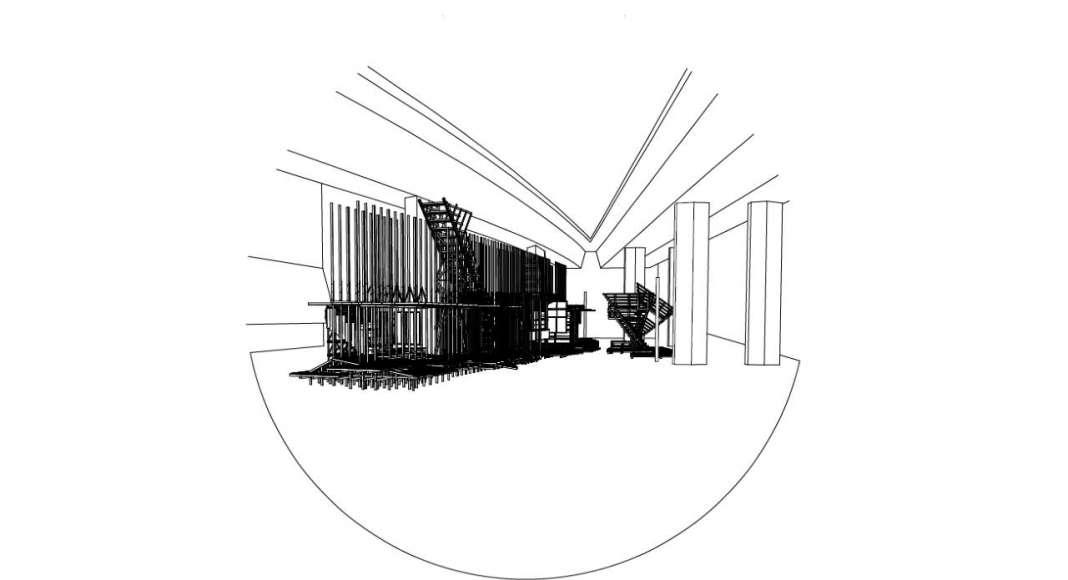 HOUSE 2 - COUNTER CITY Axonometry - instalación diseñada por el laboratorio ALICE de la EPFL : Drawing © Elena Chiavi