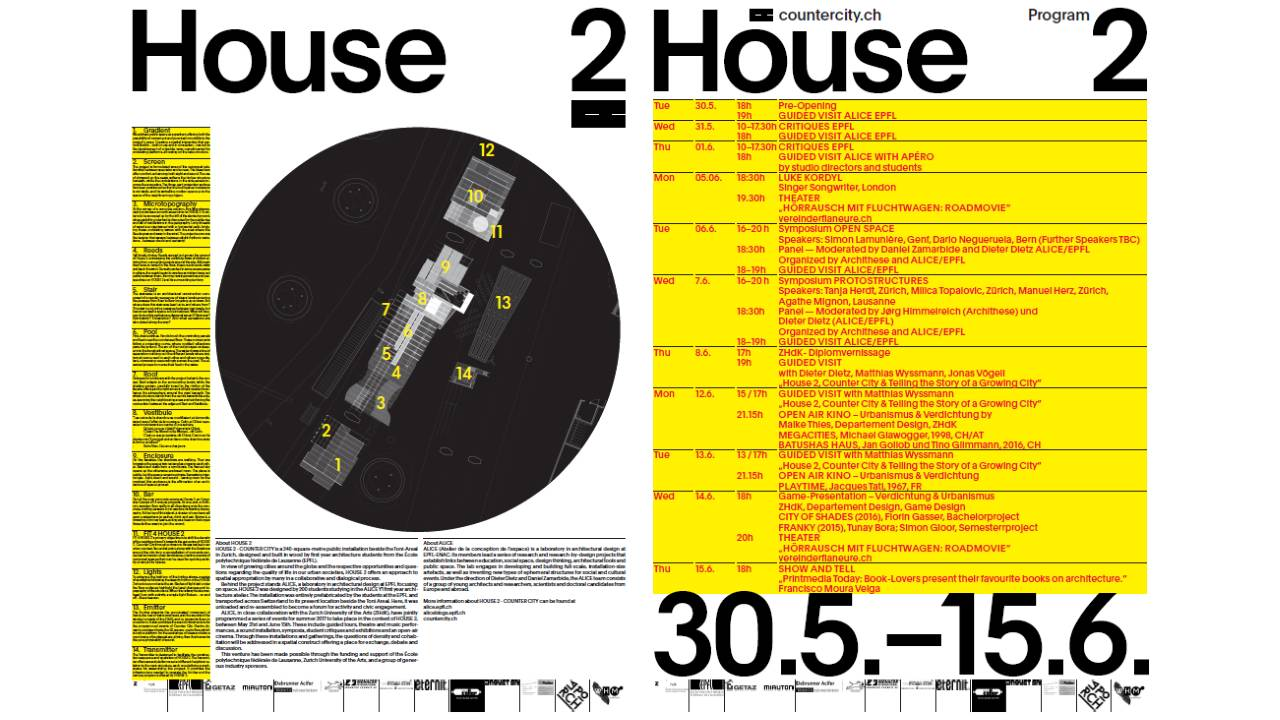 HOUSE 2 - COUNTER CITY Infopanel and Program : Poster © ALICE - EPFL