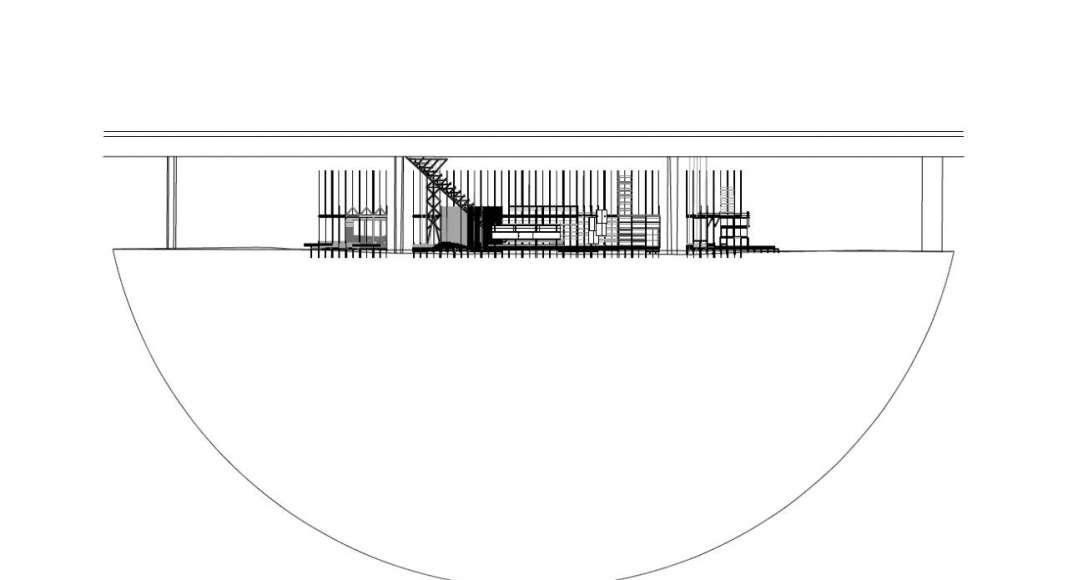 HOUSE 2 - COUNTER CITY Section - instalación diseñada por el laboratorio ALICE de la EPFL : Drawing © Elena Chiavi