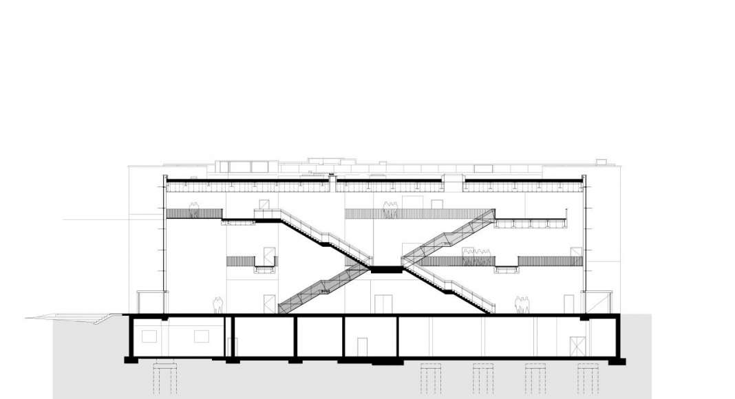 Corte del Auditorio C.A.R.L en la Universidad Aachen RWTH : Drawing © Schmidt Hammer Lassen Architects